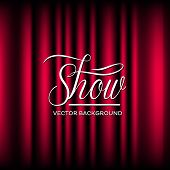 picture of cinema auditorium  - Vector background of closed curtain theatre show - JPG