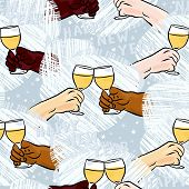stock photo of champagne color  - many different human hands with glasses of champagne making toast colorful happy new year party holiday seamless pattern on blue background - JPG
