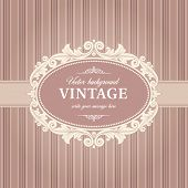 stock photo of flourish  - Vintage Background Template With Flourish Frame Vector - JPG