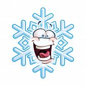 image of laugh out loud  - Cartoon illustration of a snowflake emoticon laughing out loud - JPG