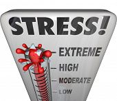 stock photo of thermometer  - Stress Thermometer Measure Stressful Overload Feeling - JPG