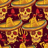 pic of sombrero  - Skull in sombrero Day of The Dead - JPG