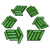 pic of waste reduction  - A recycling symbol composed of green AA batteries - JPG