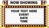 stock photo of marquee  - A Broadway style Art Deco movie theater marquee to announce schedule of events such as movie recital play or magic show - JPG
