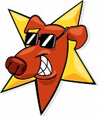 foto of happy dog  - cartoon vector illustration of star dog icon - JPG