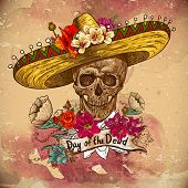 stock photo of skeleton  - Skull in sombrero with flowers Day of The Dead - JPG