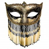 picture of masquerade  - Carnival masquerade mask Christmas black gold white background silver New year - JPG