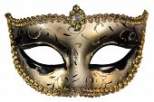 stock photo of masquerade  - Carnival masquerade mask Christmas black gold white background silver New year - JPG