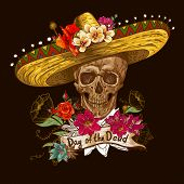 foto of sombrero  - Skull in sombrero with flowers Day of The Dead - JPG