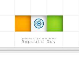 image of asoka  - Happy Indian Republic Day concept with national flag colors stickers with Asoka wheel on grey background - JPG