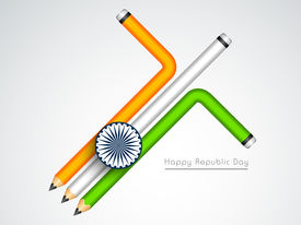 image of ashoka  - Happy Indian Republic Day concept with pencils in national flag colors with Ashoka Wheel on grey background - JPG