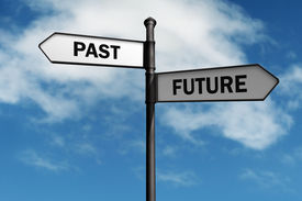 pic of past future  - Signpost with past and future direction choices - JPG