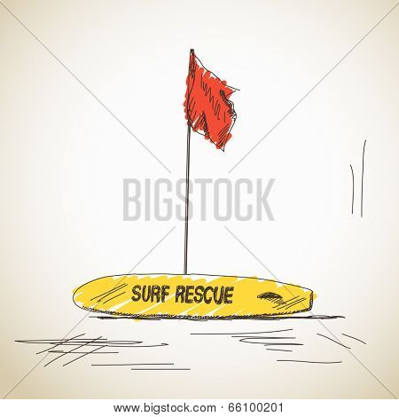 Sketch of surf rescue isolated, Hand drawn illustration