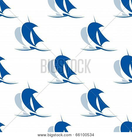 Yacht with sails seamless pattern