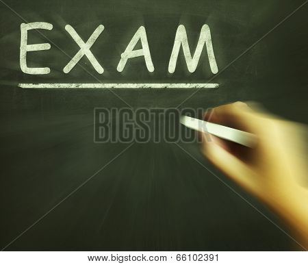 Exam Chalk Shows Assessment Test And Grade