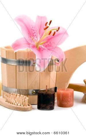 Washtub With Candles And Flower