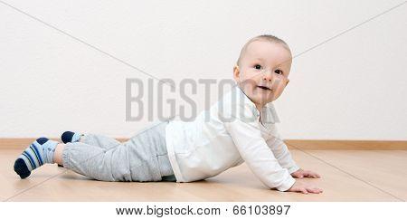 Happy Baby Boy Crawling