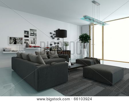 Modern living room with an upholstered lounge suite facing a view window and wall-mounted shelving in shades of grey