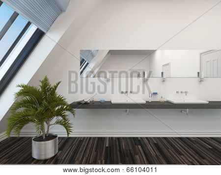 Modern bathroom with a double vanity unit below a long horizontal mirror, white wall, sloping windows and a potted palm on a parquet floor