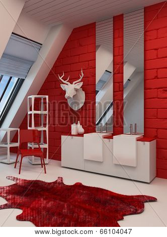 Striking red and white bathroom interior in a sloping room with a deer head mounted on the wall, animal skin on the floor and double vanity unit