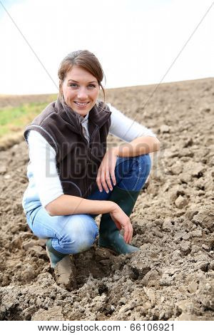 Farmer woman in farming land