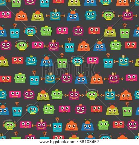 Seamless Tileable Vector Background Pattern with Cute Robots