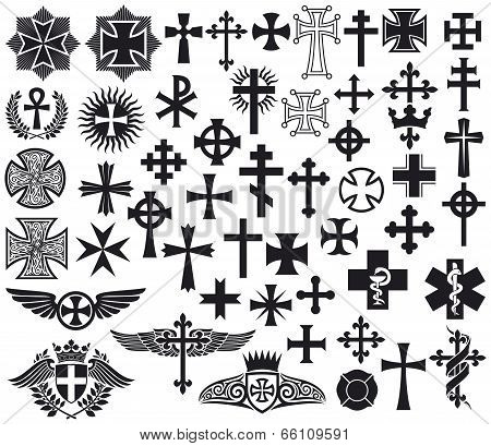 Big collection of crosses