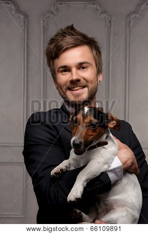 Young fellow with his dog