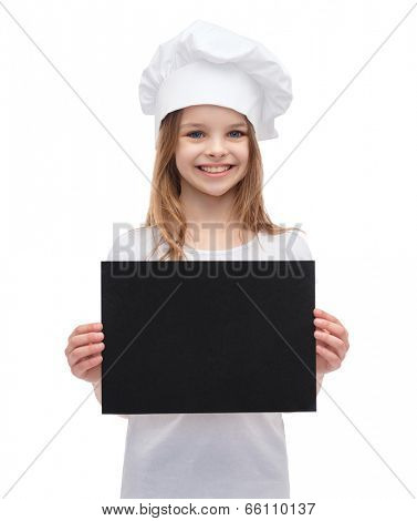 cooking, advertisement and food concept - smiling little chef, cook or baker with blank black paper