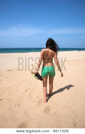 Sensual Female With Flip-flop On Hand