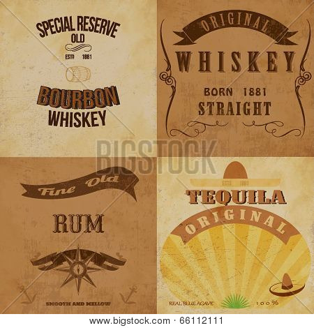 Vintage alcohol labels set. Fully editable vector EPS10 .