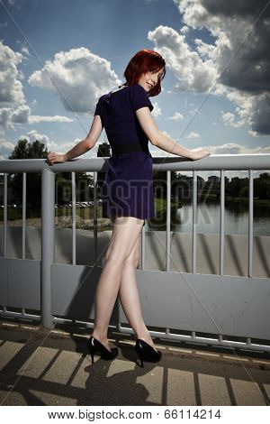Beauty Lady Posing On Floodgate