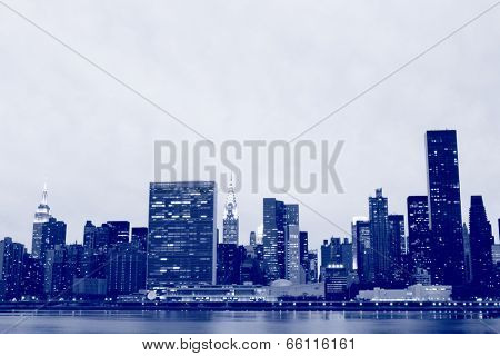 Midtown Manhattan skyline at Night Lights, New York City