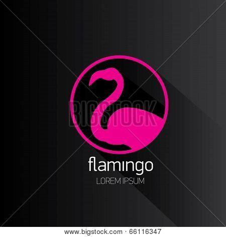 vector stylish flat design pink flamingo Icon