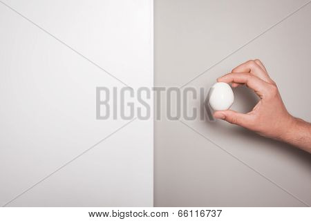 Hand Holding An Egg Against A Dual Colored Background