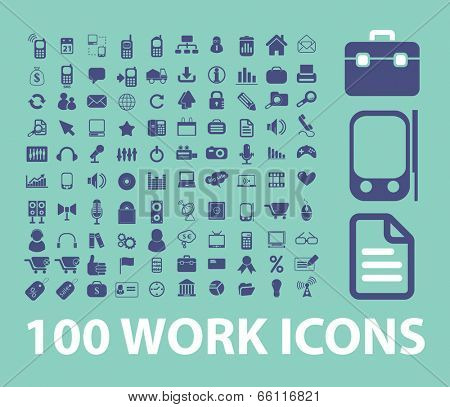 work, business, management, organization icons, signs set, vector