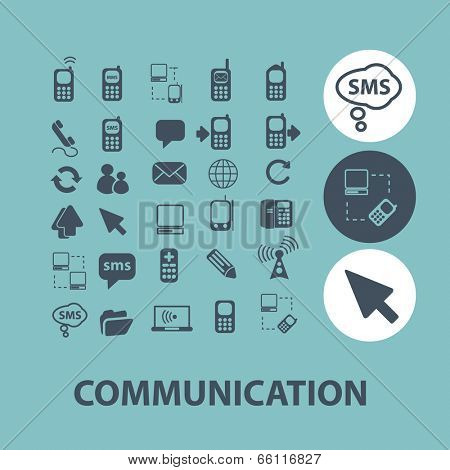 communication, connection icons set, vector