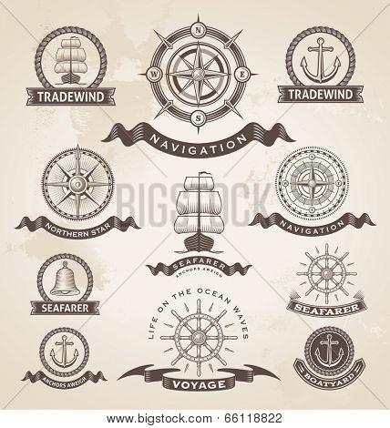 Vintage nautical marine label set. Retro vector design elements.