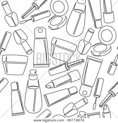 Seamless pattern with cosmetic bottles
