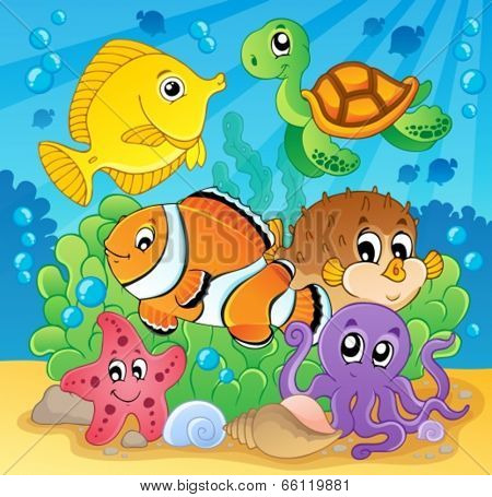 Coral fish theme image 2 - eps10 vector illustration.