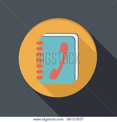 Flat Icon With A Shadow, Phone Address Book