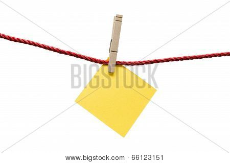 Bright Yellow Blank Note Hanging With Clothespin