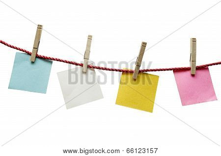 Textured Blank Papers Hanging On Rope