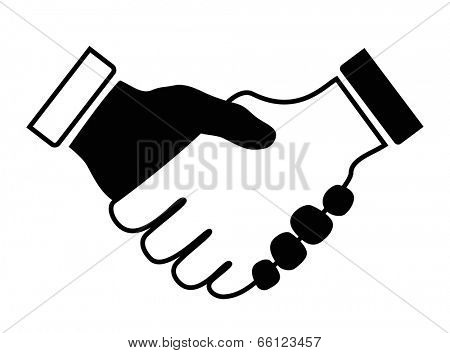 hand shake icon black and white