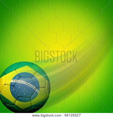 Soccer ball with Brazilian flag on color background