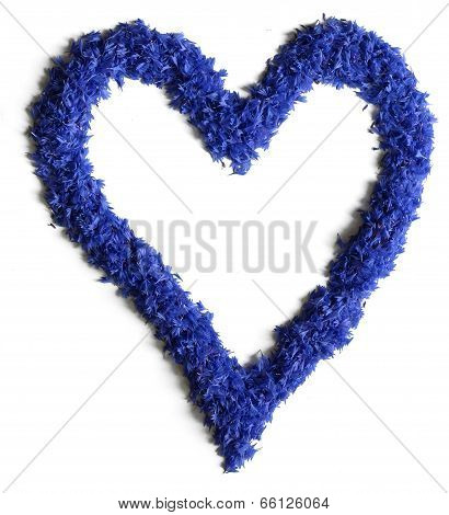 Heart Shape Made Of Flowers (cornflowers) Isolated On White Background