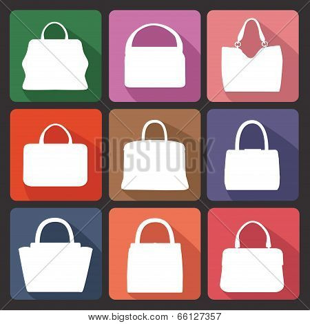 Colored Flat Icons With Silhouettes Of  Fashion Women's Handbag