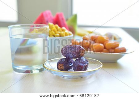 Assorted food for Iftar during Ramadan