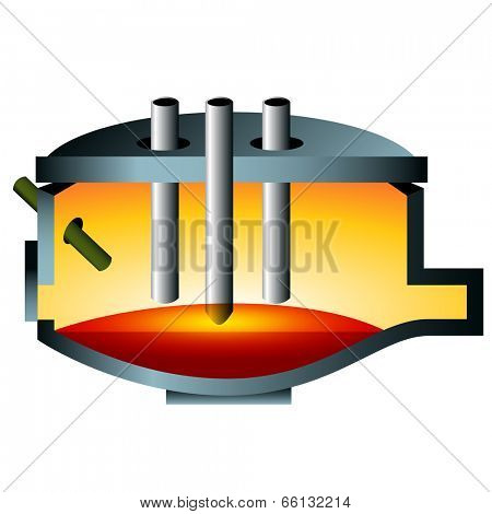 A 3d image of an arc furnace steel icon.