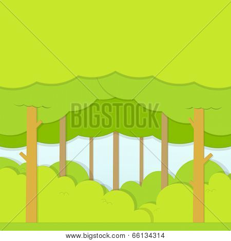 flat paper Illustration of the green forest